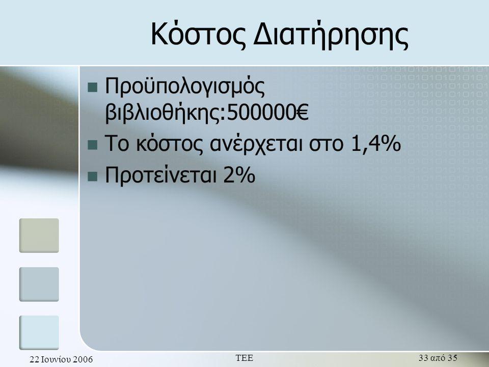 22 Ιουνίου 2006 ΤΕΕ33 από 35 Κόστος Διατήρησης  Προϋπολογισμός βιβλιοθήκης:500000€  Το κόστος ανέρχεται στο 1,4%  Προτείνεται 2%
