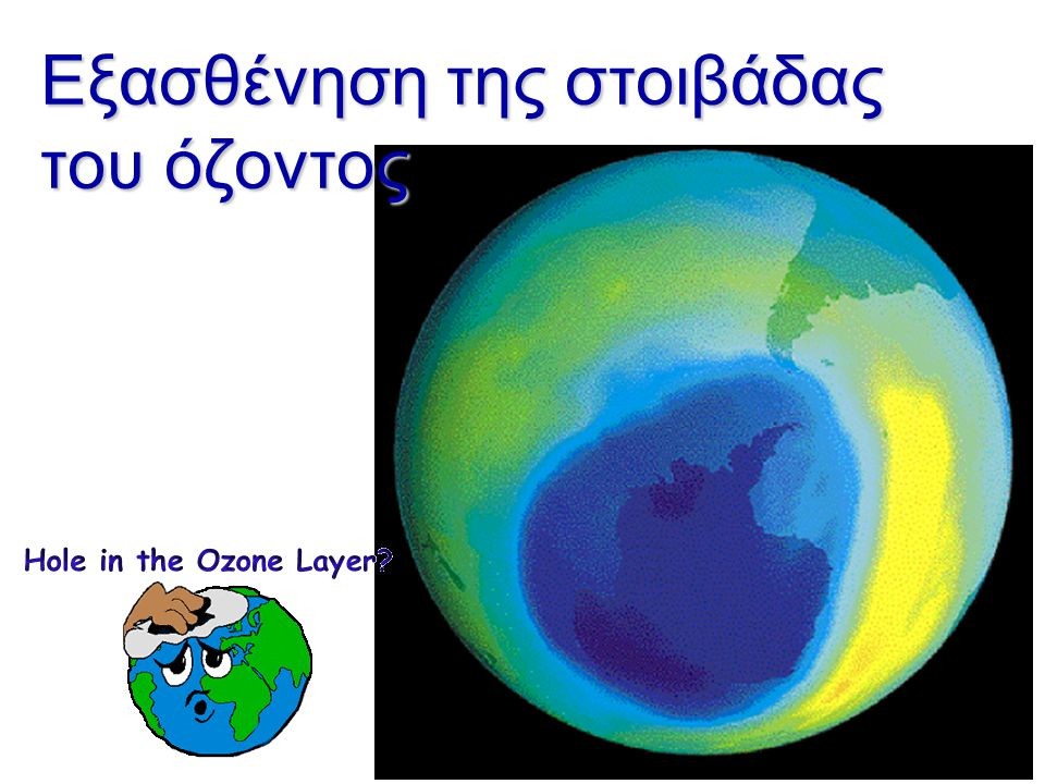 Η τρύπα του όζοντος: Η οροφή του ουρανού από κάπου μπάζει http://ozonewatch.gsfc.nasa.gov/m ultimedia/index.html http://ozonewatch.gsfc.nasa.gov/m ult