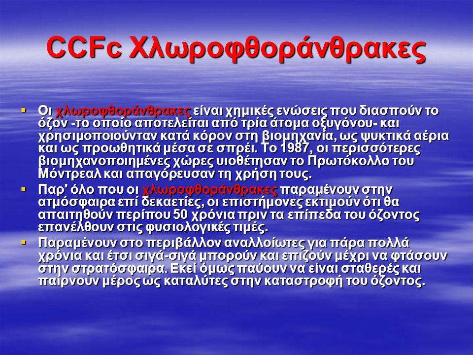 Χημικές εξισώσεις διάσπασης όζοντος  CFCl 3 + UV Light  CFCl 2 + Cl Cl + O 3  ClO + O 2 ClO + O  Cl + O 2  Και μετά  Cl + O 3  ClO + O 2 ClO +