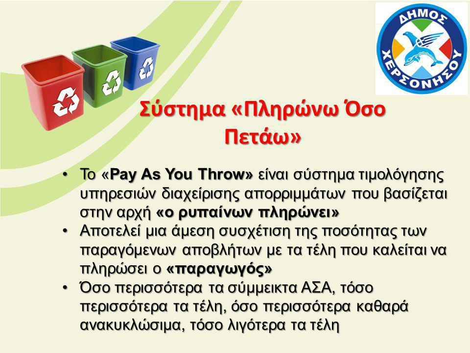 Σύστημα «Πληρώνω Όσο Πετάω» •To «Pay As You Throw» είναι σύστημα τιμολόγησης υπηρεσιών διαχείρισης απορριμμάτων που βασίζεται στην αρχή «ο ρυπαίνων πληρώνει» •Αποτελεί μια άμεση συσχέτιση της ποσότητας των παραγόμενων αποβλήτων με τα τέλη που καλείται να πληρώσει ο «παραγωγός» •Όσο περισσότερα τα σύμμεικτα ΑΣΑ, τόσο περισσότερα τα τέλη, όσο περισσότερα καθαρά ανακυκλώσιμα, τόσο λιγότερα τα τέλη