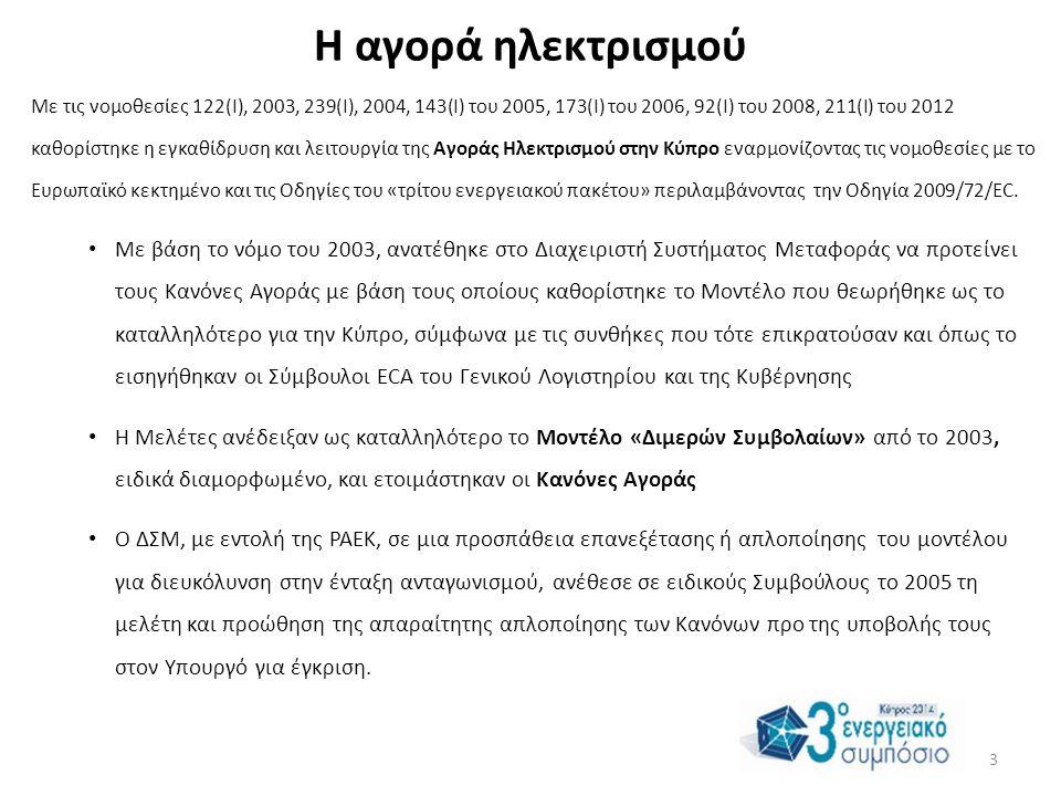 Η αγορά ηλεκτρισμού Με τις νομοθεσίες 122(I), 2003, 239(I), 2004, 143(I) του 2005, 173(I) του 2006, 92(I) του 2008, 211(I) του 2012 καθορίστηκε η εγκαθίδρυση και λειτουργία της Αγοράς Ηλεκτρισμού στην Κύπρο εναρμονίζοντας τις νομοθεσίες με το Ευρωπαϊκό κεκτημένο και τις Οδηγίες του «τρίτου ενεργειακού πακέτου» περιλαμβάνοντας την Οδηγία 2009/72/EC.