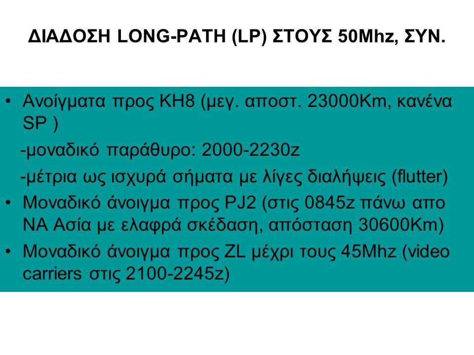 ΔΙΑΔΟΣΗ LONG-PATH (LP) ΣΤΟΥΣ 50Mhz •Περιορίζεται προς JA, KH6, KH8, σε αζ. 180-230 μοιρών •Ανοίγματα προς JA (μεγ.απόσταση 30900Km, LP ~25%) -κύριο πα