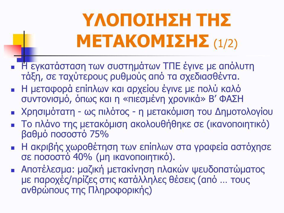 ΥΛΟΠΟΙΗΣΗ ΤΗΣ ΜΕΤΑΚΟΜΙΣΗΣ (1/2)  Η εγκατάσταση των συστημάτων ΤΠΕ έγινε με απόλυτη τάξη, σε ταχύτερους ρυθμούς από τα σχεδιασθέντα.  Η μεταφορά επίπ