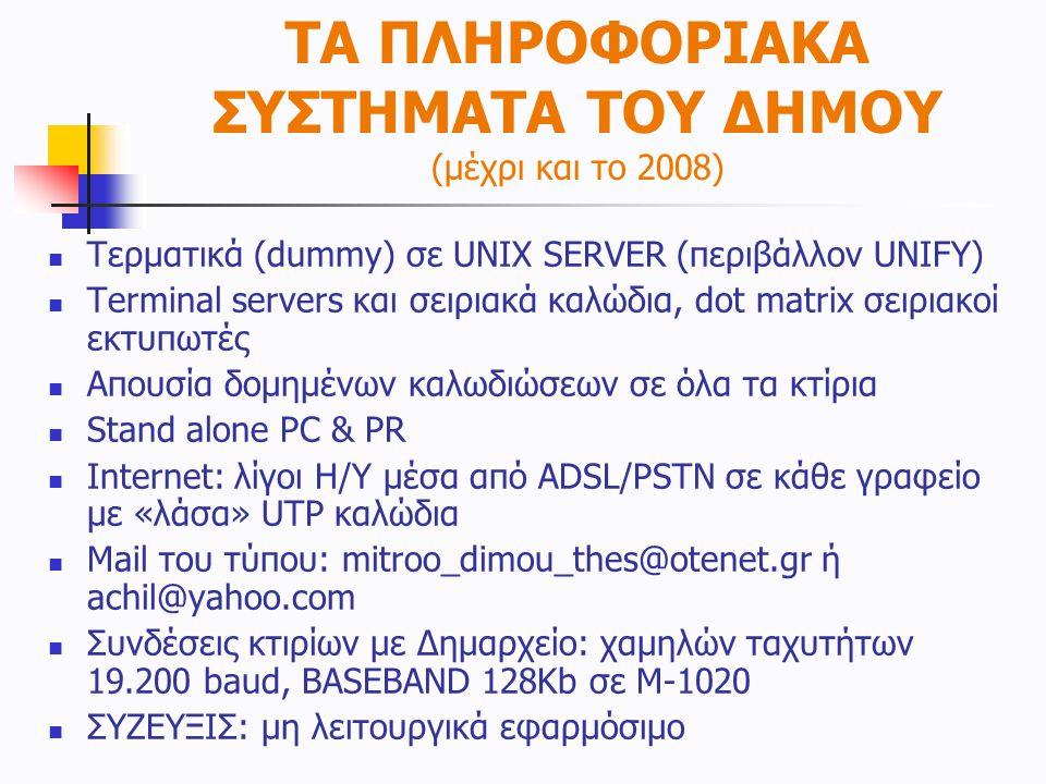 ΤΑ ΠΛΗΡΟΦΟΡΙΑΚΑ ΣΥΣΤΗΜΑΤΑ ΤΟΥ ΔΗΜΟΥ (μέχρι και το 2008)  Τερματικά (dummy) σε UNIX SERVER (περιβάλλον UNIFY)  Terminal servers και σειριακά καλώδια,