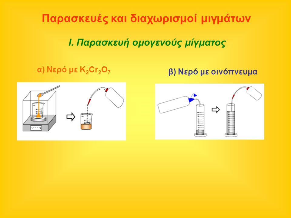 Παρασκευές και διαχωρισμοί μιγμάτων Ι. Παρασκευή ομογενούς μίγματος α) Νερό με K 2 Cr 2 O 7 β) Νερό με οινόπνευμα