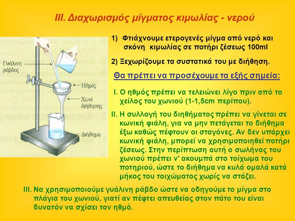 ΙΙΙ. Διαχωρισμός μίγματος κιμωλίας - νερού Ι. Ο ηθμός πρέπει να τελειώνει λίγο πριν από το χείλος του χωνιού (1-1,5cm περίπου). II. Η συλλογή του διηθ