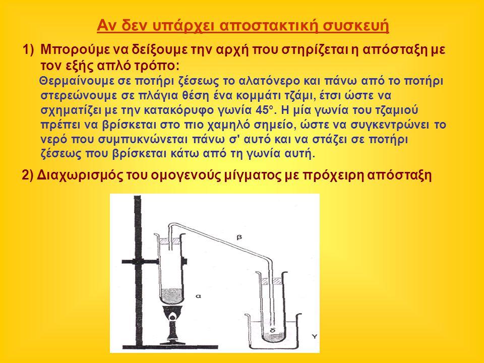 Αν δεν υπάρχει αποστακτική συσκευή 1)Μπορούμε να δείξουμε την αρχή που στηρίζεται η απόσταξη με τον εξής απλό τρόπο: Θερμαίνουμε σε ποτήρι ζέσεως το α