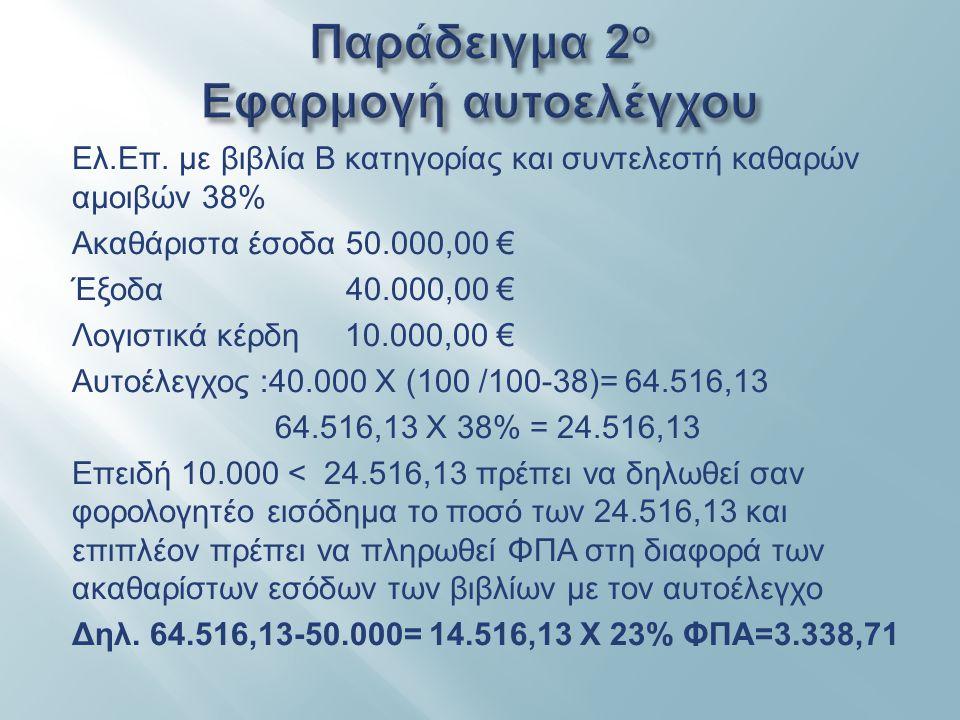 Ελ. Επ. με βιβλία Β κατηγορίας και συντελεστή καθαρών αμοιβών 38% Ακαθάριστα έσοδα 50.000,00 € Έξοδα 40.000,00 € Λογιστικά κέρδη 10.000,00 € Αυτοέλεγχ