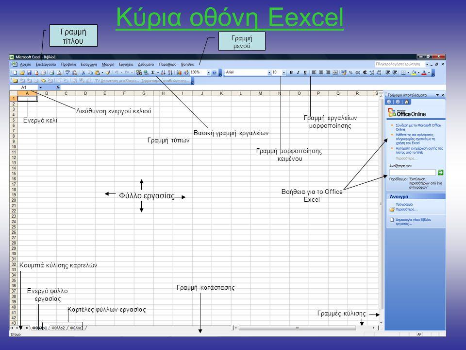 Κύρια οθόνη Εexcel Γραμμή τίτλου Γραμμή μενού Διεύθυνση ενεργού κελιού Βοήθεια για το Office Excel Βασική γραμμή εργαλείων Γραμμή τύπων Γραμμή εργαλείων μορφοποίησης Γραμμή μορφοποίησης κειμένου Ενεργό φύλλο εργασίας Κουμπιά κύλισης καρτελών Καρτέλες φύλλων εργασίας Γραμμή κατάστασης Γραμμές κύλισης Ενεργό κελί Φύλλο εργασίας