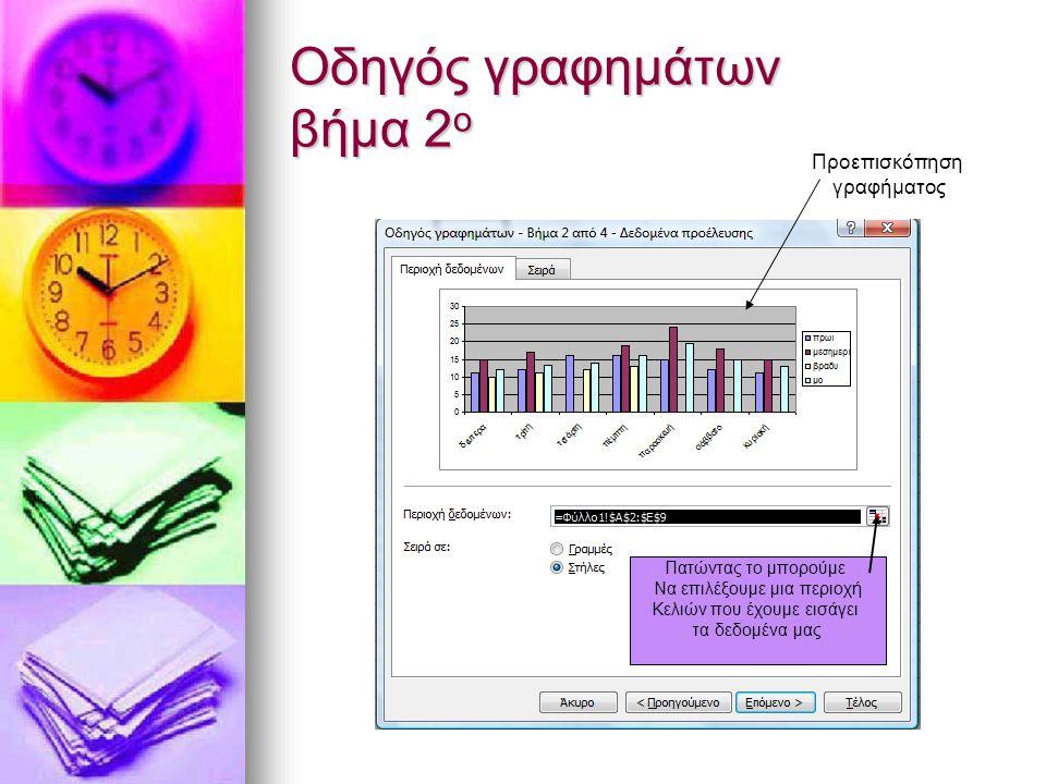 Οδηγός γραφημάτων βήμα 2 ο Πατώντας το μπορούμε Να επιλέξουμε μια περιοχή Κελιών που έχουμε εισάγει τα δεδομένα μας Προεπισκόπηση γραφήματος