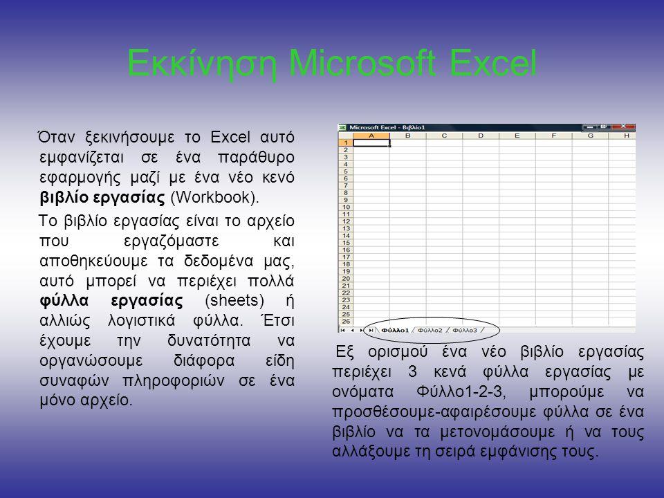 Εκκίνηση Microsoft Excel Όταν ξεκινήσουμε το Excel αυτό εμφανίζεται σε ένα παράθυρο εφαρμογής μαζί με ένα νέο κενό βιβλίο εργασίας (Workbook).