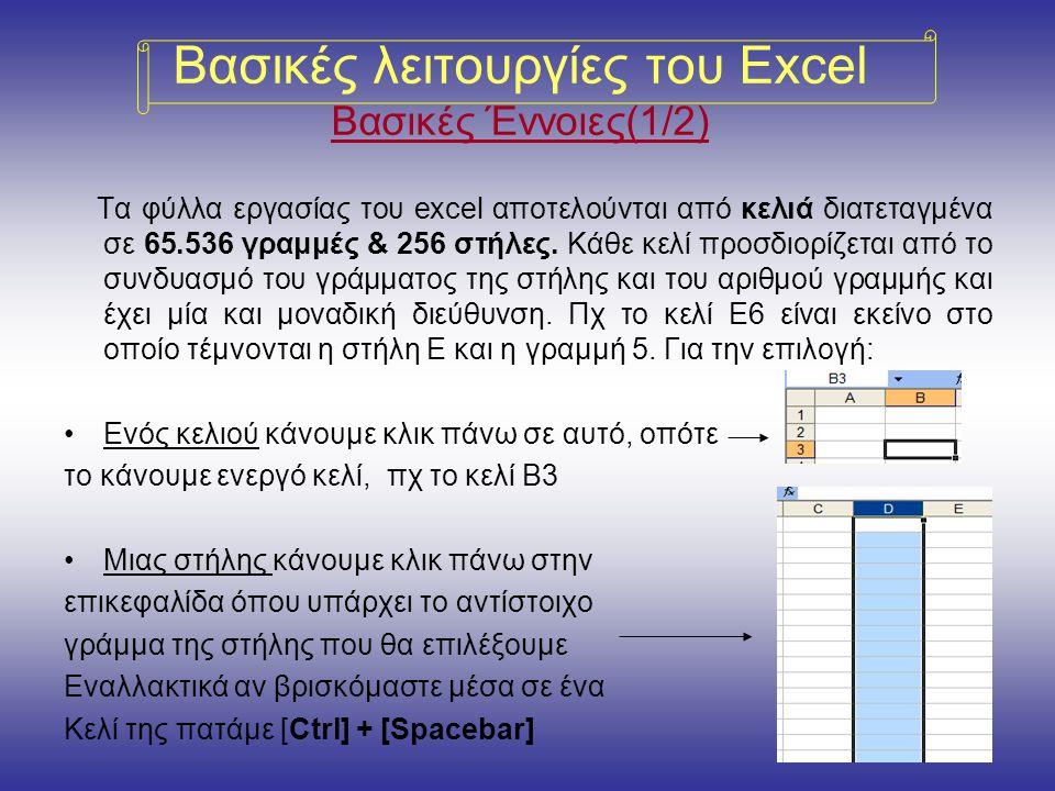 Βασικές λειτουργίες του Excel Βασικές Έννοιες(1/2) Τα φύλλα εργασίας του excel αποτελούνται από κελιά διατεταγμένα σε 65.536 γραμμές & 256 στήλες.