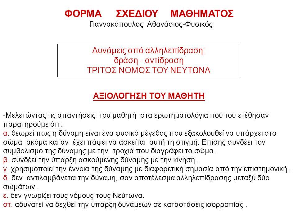 ΦΟΡΜΑ ΣΧΕΔΙΟΥ ΜΑΘΗΜΑΤΟΣ Γιαννακόπουλος Αθανάσιος-Φυσικός ΑΞΙΟΛΟΓΗΣΗ ΤΟΥ ΜΑΘΗΤΗ -Μελετώντας τις απαντήσεις του μαθητή στα ερωτηματολόγια που του ετέθησαν παρατηρούμε ότι : α.