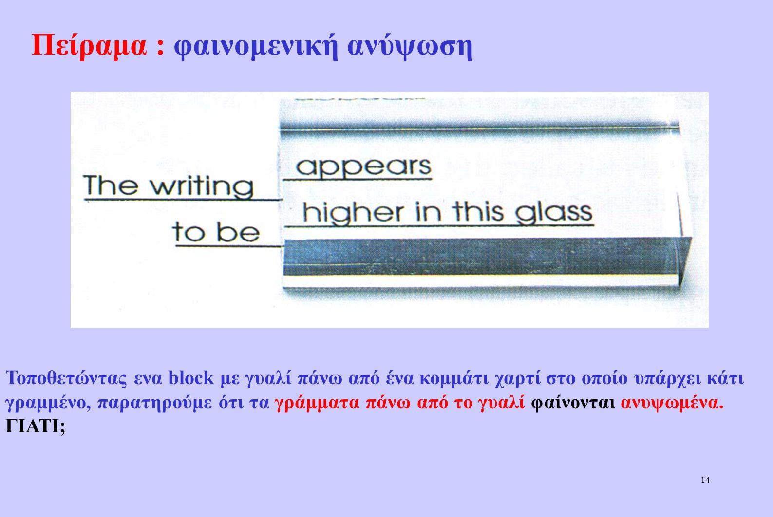 """13 """"Σπάσιμο"""" μολυβιού στο νερό Ενα μολύβι που είναι μισοβυθισμένο στο νερό φαίνεται σπασμένο."""