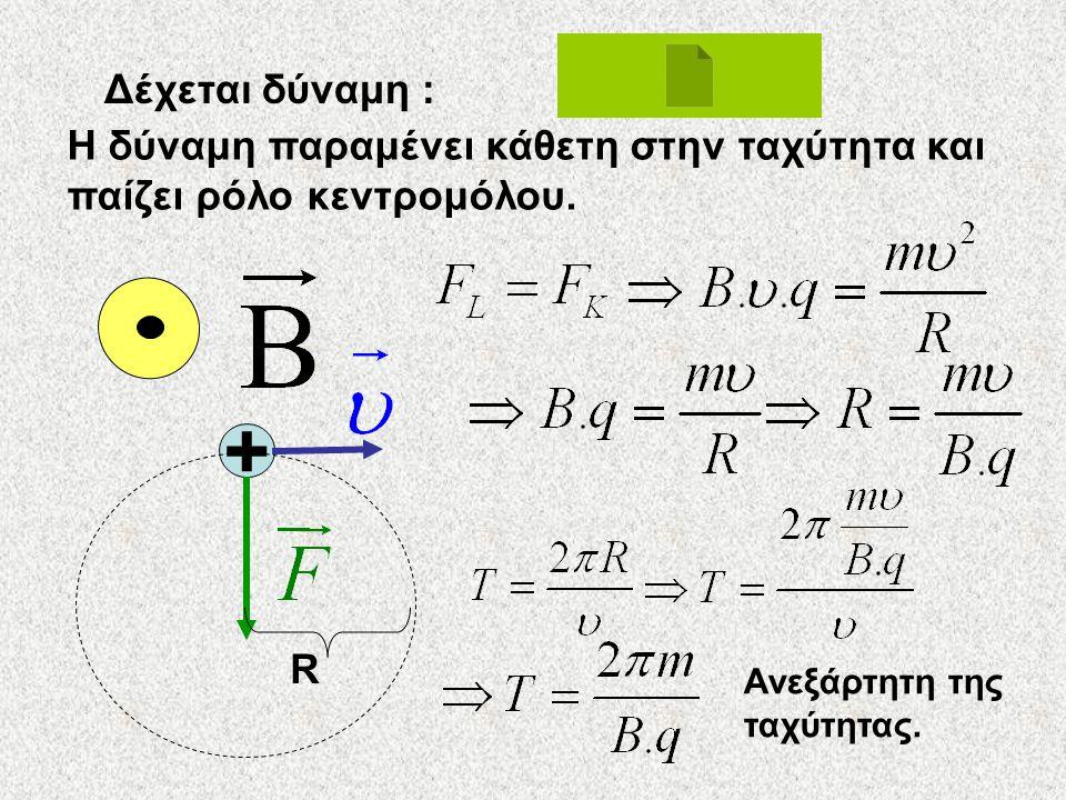 Κίνηση φορτίου σε ομογενές μαγνητικό πεδίο •Κίνηση κάθετα στις δυναμικές γραμμές •Κίνηση υπό γωνίαν