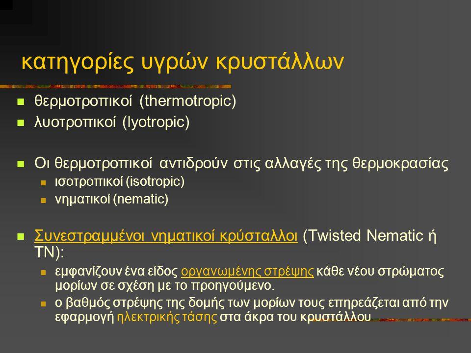 κατηγορίες υγρών κρυστάλλων  θερμοτροπικοί (thermotropic)  λυοτροπικοί (lyotropic)  Οι θερμοτροπικοί αντιδρούν στις αλλαγές της θερμοκρασίας  ισοτροπικοί (isotropic)  νηματικοί (nematic)  Συνεστραμμένοι νηματικοί κρύσταλλοι (Twisted Nematic ή ΤΝ):  εμφανίζουν ένα είδος οργανωμένης στρέψης κάθε νέου στρώματος μορίων σε σχέση με το προηγούμενο.