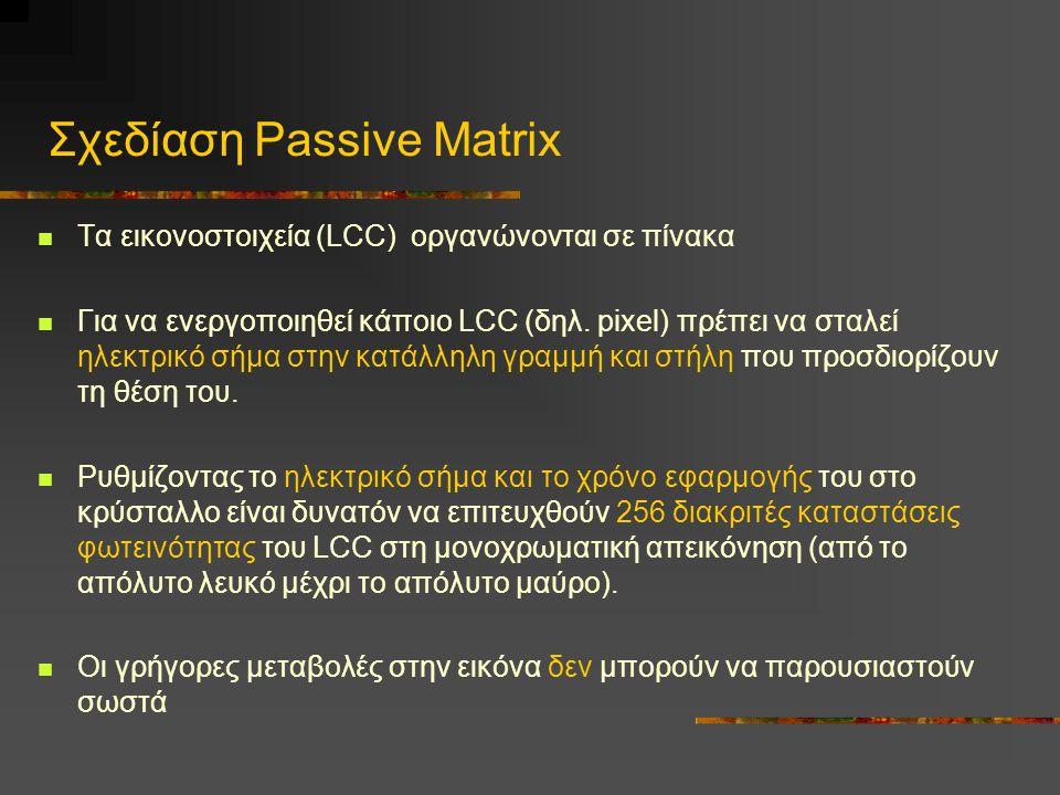 Σχεδίαση Passive Matrix  Τα εικονοστοιχεία (LCC) οργανώνονται σε πίνακα  Για να ενεργοποιηθεί κάποιο LCC (δηλ.