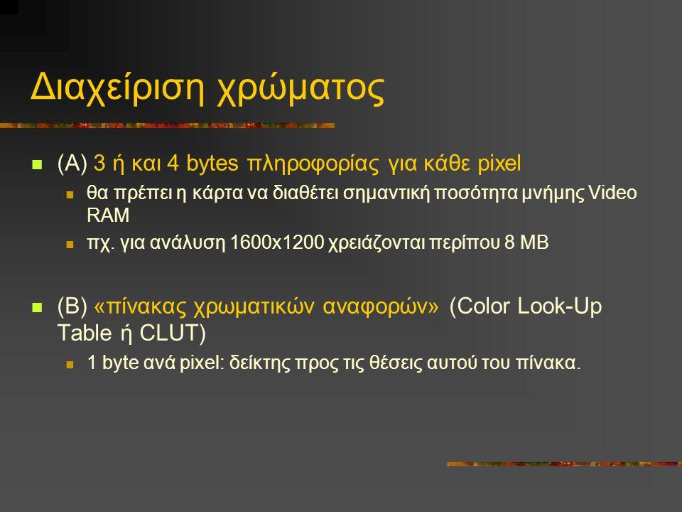 Διαχείριση χρώματος  (Α) 3 ή και 4 bytes πληροφορίας για κάθε pixel  θα πρέπει η κάρτα να διαθέτει σημαντική ποσότητα μνήμης Video RAM  πχ.