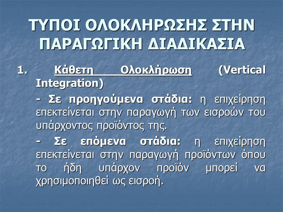 ΤΥΠΟΙ ΟΛΟΚΛΗΡΩΣΗΣ ΣΤΗΝ ΠΑΡΑΓΩΓΙΚΗ ΔΙΑΔΙΚΑΣΙΑ 1. Κάθετη Ολοκλήρωση (Vertical Integration) - Σε προηγούμενα στάδια: η επιχείρηση επεκτείνεται στην παραγ