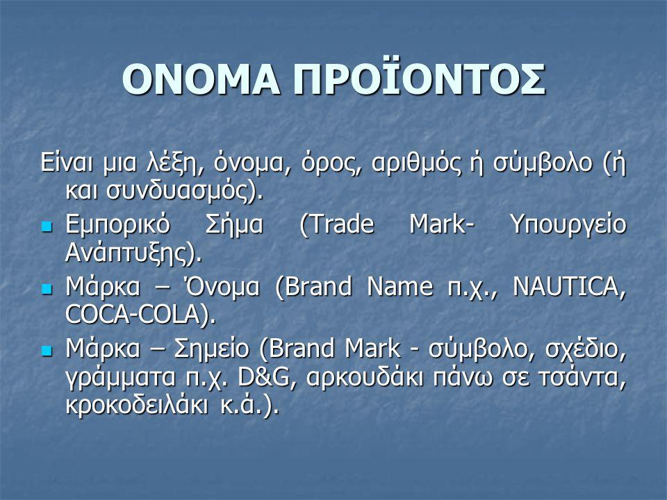 ΟΝΟΜΑ ΠΡΟΪΟΝΤΟΣ Είναι μια λέξη, όνομα, όρος, αριθμός ή σύμβολο (ή και συνδυασμός).  Εμπορικό Σήμα (Trade Mark- Υπουργείο Ανάπτυξης).  Μάρκα – Όνομα
