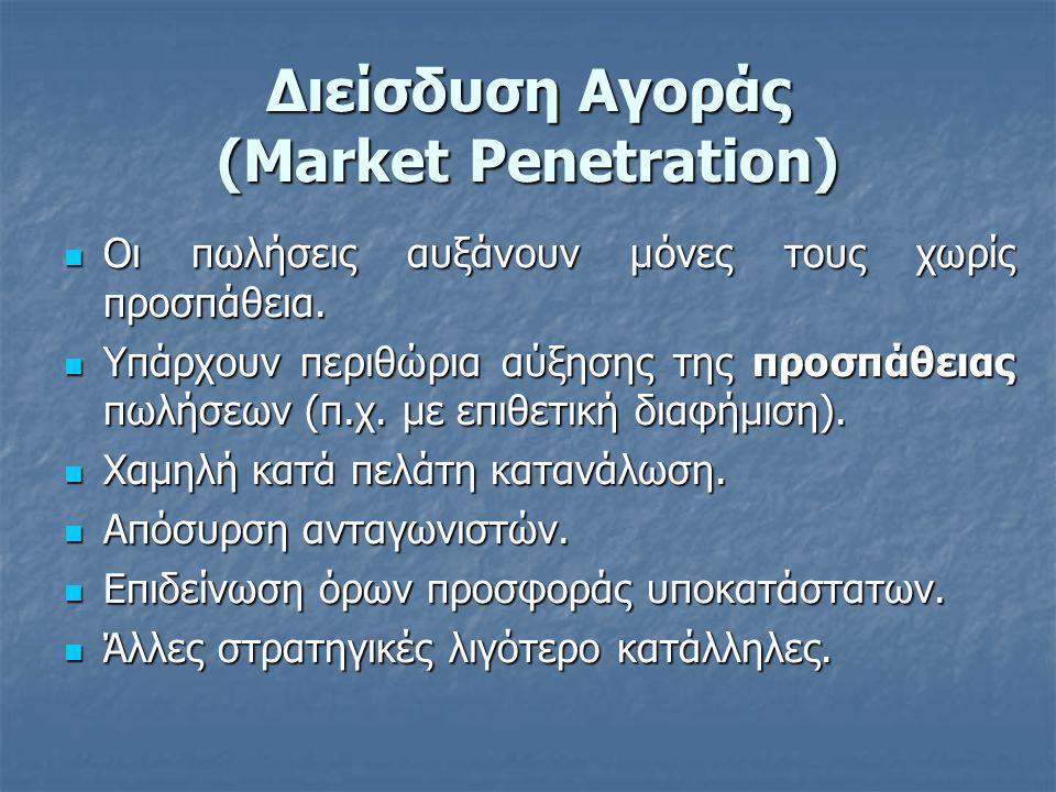 Διείσδυση Αγοράς (Market Penetration)  Οι πωλήσεις αυξάνουν μόνες τους χωρίς προσπάθεια.  Υπάρχουν περιθώρια αύξησης της προσπάθειας πωλήσεων (π.χ.