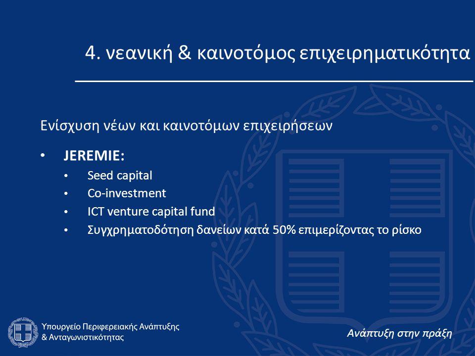 Ανάπτυξη στην πράξη 4. νεανική & καινοτόμος επιχειρηματικότητα Ενίσχυση νέων και καινοτόμων επιχειρήσεων • JEREMIE: • Seed capital • Co-investment • I