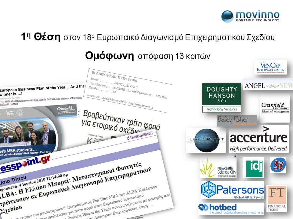 1 η Θέση στον 18 ο Ευρωπαϊκό Διαγωνισμό Επιχειρηματικού Σχεδίου Ομόφωνη απόφαση 13 κριτών