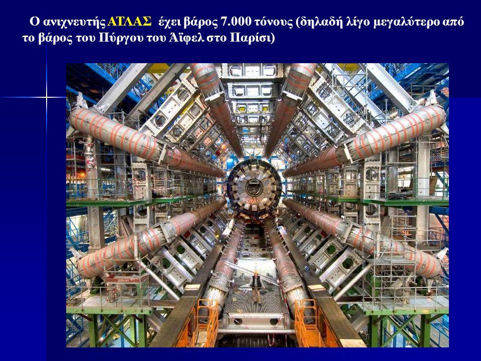 Ο ανιχνευτής ΑΤΛΑΣ έχει βάρος 7.000 τόνους (δηλαδή λίγο μεγαλύτερο από το βάρος του Πύργου του Άϊφελ στο Παρίσι)