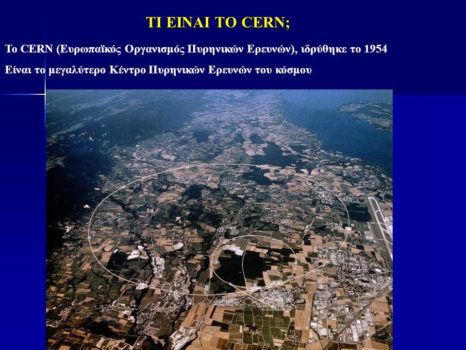 ΤΙ ΕΙΝΑΙ ΤΟ CERN; To CERN (Ευρωπαϊκός Οργανισμός Πυρηνικών Ερευνών), ιδρύθηκε το 1954 Είναι το μεγαλύτερο Κέντρο Πυρηνικών Ερευνών του κόσμου