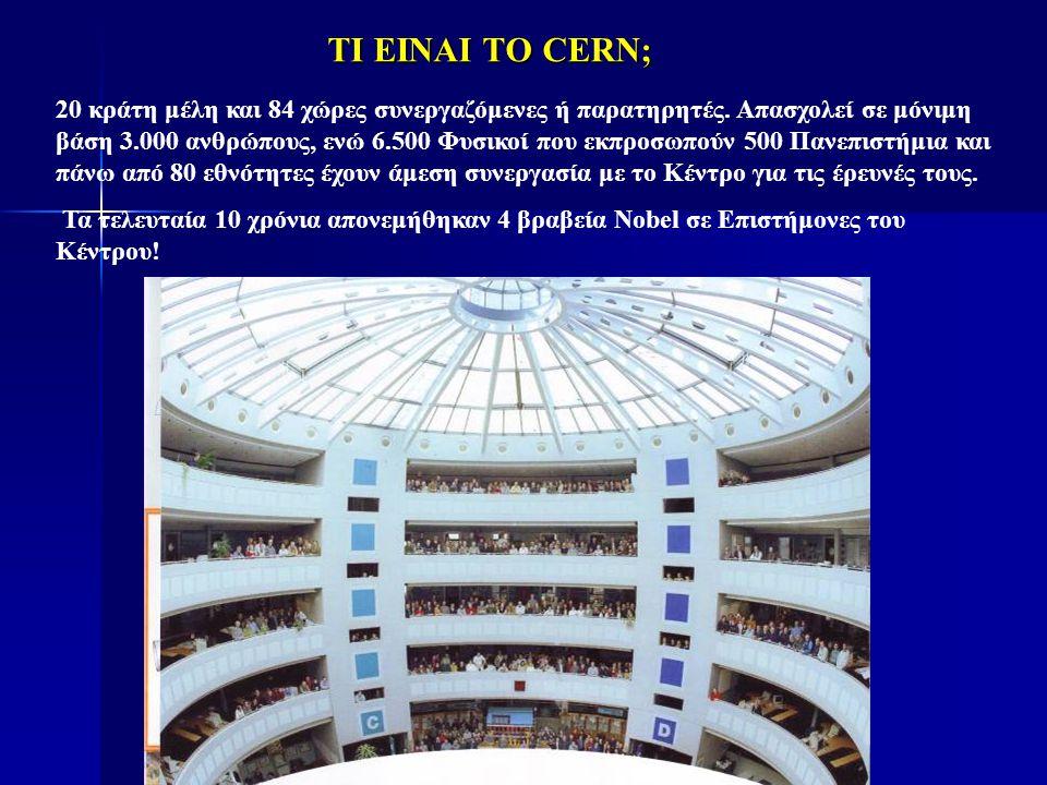 ΤΙ ΕΙΝΑΙ ΤΟ CERN; 20 κράτη μέλη και 84 χώρες συνεργαζόμενες ή παρατηρητές. Απασχολεί σε μόνιμη βάση 3.000 ανθρώπους, ενώ 6.500 Φυσικοί που εκπροσωπούν