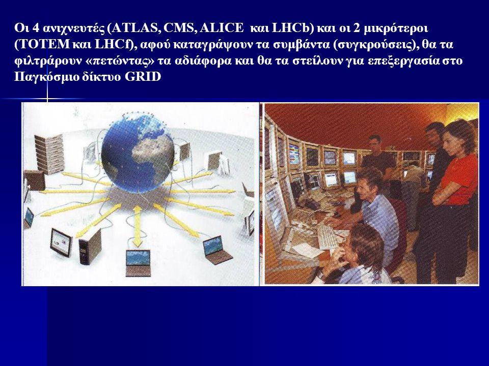 Οι 4 ανιχνευτές (ΑTLAS, CMS, ALICE και LHCb) και οι 2 μικρότεροι (TOTEM και LHCf), αφού καταγράψουν τα συμβάντα (συγκρούσεις), θα τα φιλτράρουν «πετών