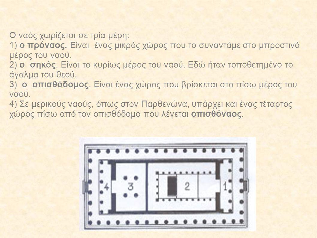 Ο ναός χωρίζεται σε τρία μέρη: 1) ο πρόναος. Είναι ένας μικρός χώρος που το συναντάμε στο μπροστινό μέρος του ναού. 2) ο σηκός. Είναι το κυρίως μέρος