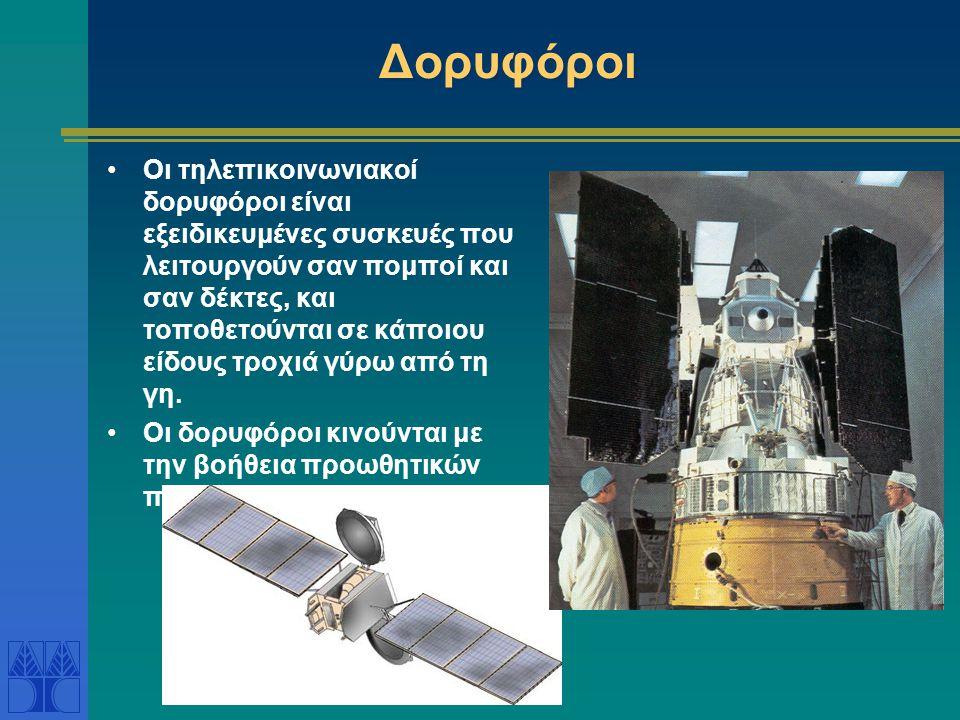 Δορυφόροι •Οι τηλεπικοινωνιακοί δορυφόροι είναι εξειδικευμένες συσκευές που λειτουργούν σαν πομποί και σαν δέκτες, και τοποθετούνται σε κάποιου είδους