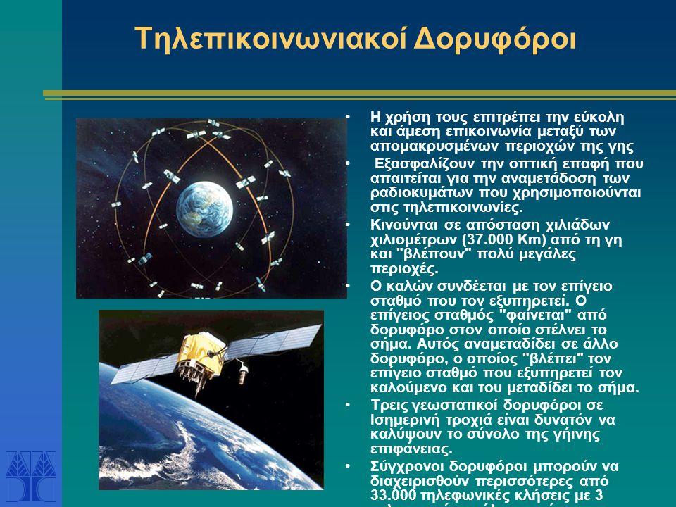 Τηλεπικοινωνιακοί Δορυφόροι •Η χρήση τους επιτρέπει την εύκολη και άμεση επικοινωνία μεταξύ των απομακρυσμένων περιοχών της γης • Εξασφαλίζουν την οπτ