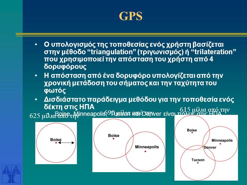 "GPS •Ο υπολογισμός της τοποθεσίας ενός χρήστη βασίζεται στην μέθοδο ""triangulation"" (τριγωνισμός) ή ""trilateration"" που χρησιμοποιεί την απόσταση του"