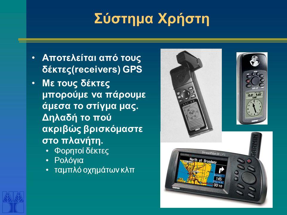 Σύστημα Χρήστη •Αποτελείται από τους δέκτες(receivers) GPS •Με τους δέκτες μπορούμε να πάρουμε άμεσα το στίγμα μας. Δηλαδή το πού ακριβώς βρισκόμαστε