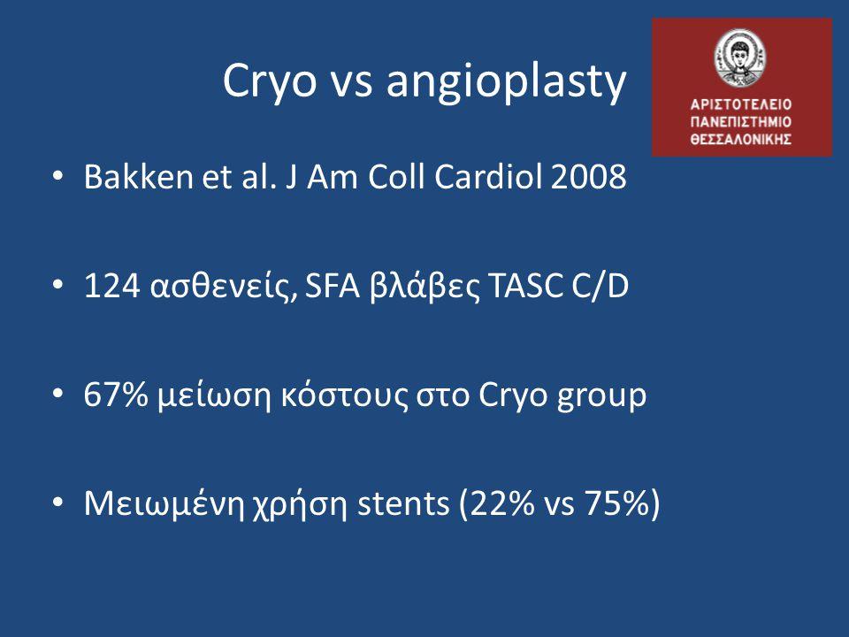 Cryo vs angioplasty • Bakken et al. J Am Coll Cardiol 2008 • 124 ασθενείς, SFA βλάβες TASC C/D • 67% μείωση κόστους στο Cryo group • Μειωμένη χρήση st