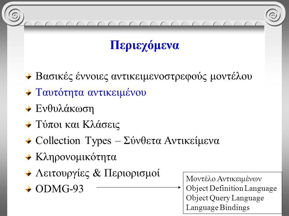 12 Περιεχόμενα Βασικές έννοιες αντικειμενοστρεφούς μοντέλου Ταυτότητα αντικειμένου Ενθυλάκωση Τύποι και Κλάσεις Collection Types – Σύνθετα Αντικείμενα Κληρονομικότητα Λειτουργίες & Περιορισμοί ODMG-93 Μοντέλο Αντικειμένων Object Definition Language Object Query Language Language Bindings