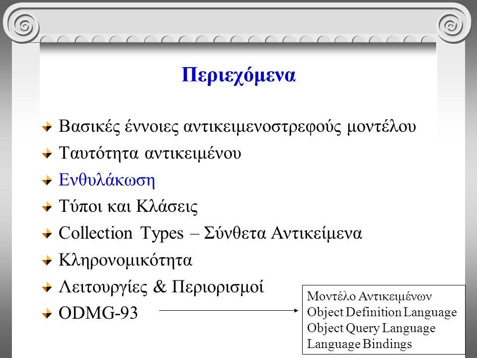 15 Περιεχόμενα Βασικές έννοιες αντικειμενοστρεφούς μοντέλου Ταυτότητα αντικειμένου Ενθυλάκωση Τύποι και Κλάσεις Collection Types – Σύνθετα Αντικείμενα Κληρονομικότητα Λειτουργίες & Περιορισμοί ODMG-93 Μοντέλο Αντικειμένων Object Definition Language Object Query Language Language Bindings