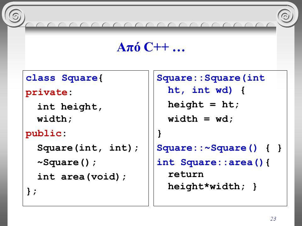 23 Από C++ … class Square{ private: int height, width; public: Square(int, int); ~Square(); int area(void); }; Square::Square(int ht, int wd) { height = ht; width = wd; } Square::~Square() { } int Square::area(){ return height*width; }