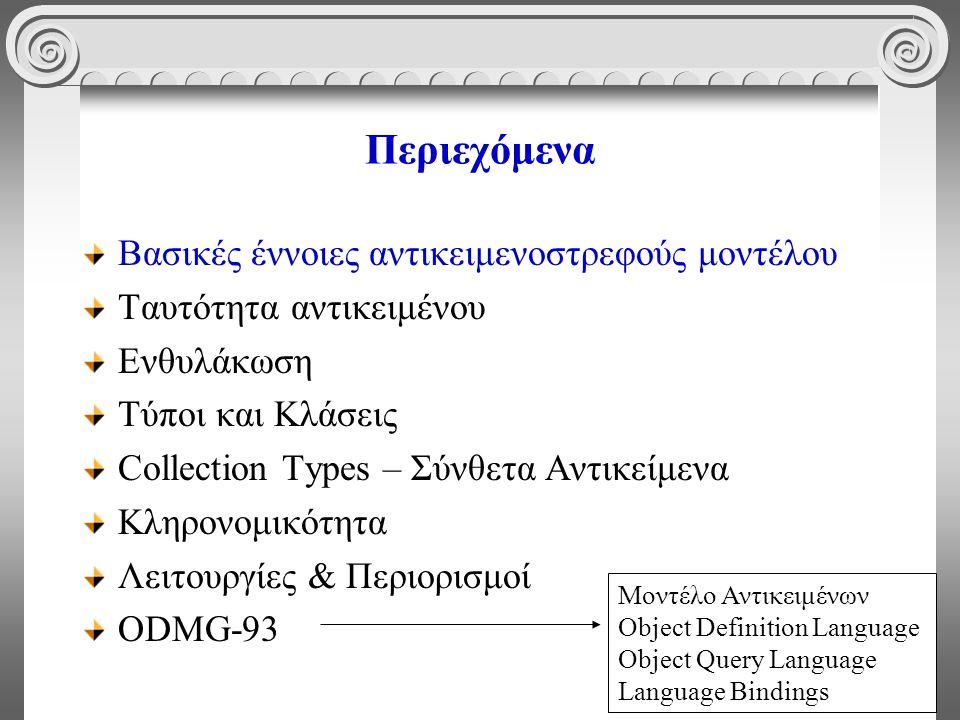 3 Περιεχόμενα Βασικές έννοιες αντικειμενοστρεφούς μοντέλου Ταυτότητα αντικειμένου Ενθυλάκωση Τύποι και Κλάσεις Collection Types – Σύνθετα Αντικείμενα Κληρονομικότητα Λειτουργίες & Περιορισμοί ODMG-93 Μοντέλο Αντικειμένων Object Definition Language Object Query Language Language Bindings