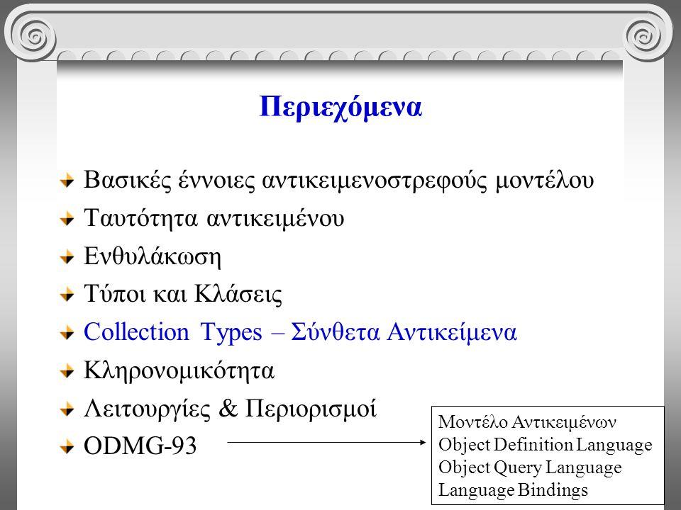32 Περιεχόμενα Βασικές έννοιες αντικειμενοστρεφούς μοντέλου Ταυτότητα αντικειμένου Ενθυλάκωση Τύποι και Κλάσεις Collection Types – Σύνθετα Αντικείμενα Κληρονομικότητα Λειτουργίες & Περιορισμοί ODMG-93 Μοντέλο Αντικειμένων Object Definition Language Object Query Language Language Bindings