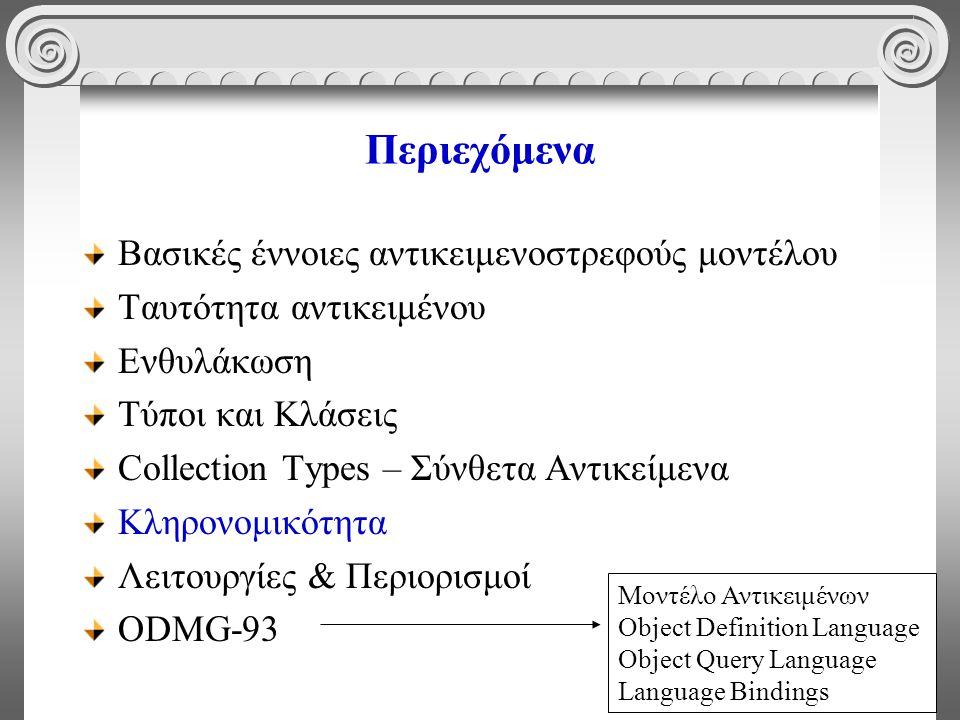 38 Περιεχόμενα Βασικές έννοιες αντικειμενοστρεφούς μοντέλου Ταυτότητα αντικειμένου Ενθυλάκωση Τύποι και Κλάσεις Collection Types – Σύνθετα Αντικείμενα Κληρονομικότητα Λειτουργίες & Περιορισμοί ODMG-93 Μοντέλο Αντικειμένων Object Definition Language Object Query Language Language Bindings