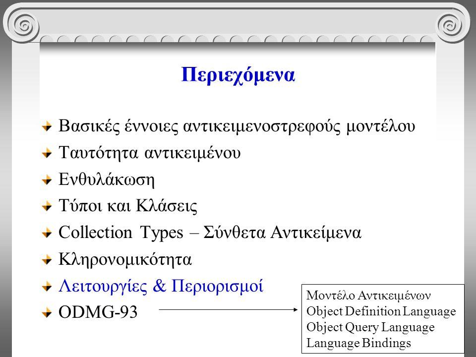 51 Περιεχόμενα Βασικές έννοιες αντικειμενοστρεφούς μοντέλου Ταυτότητα αντικειμένου Ενθυλάκωση Τύποι και Κλάσεις Collection Types – Σύνθετα Αντικείμενα Κληρονομικότητα Λειτουργίες & Περιορισμοί ODMG-93 Μοντέλο Αντικειμένων Object Definition Language Object Query Language Language Bindings