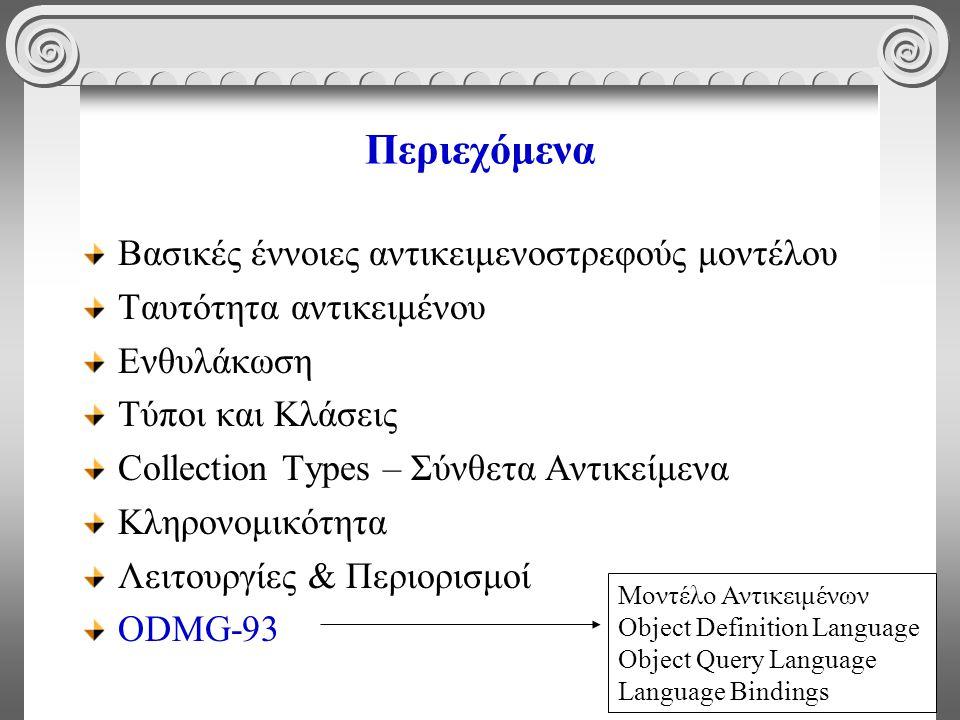 58 Περιεχόμενα Βασικές έννοιες αντικειμενοστρεφούς μοντέλου Ταυτότητα αντικειμένου Ενθυλάκωση Τύποι και Κλάσεις Collection Types – Σύνθετα Αντικείμενα Κληρονομικότητα Λειτουργίες & Περιορισμοί ODMG-93 Μοντέλο Αντικειμένων Object Definition Language Object Query Language Language Bindings