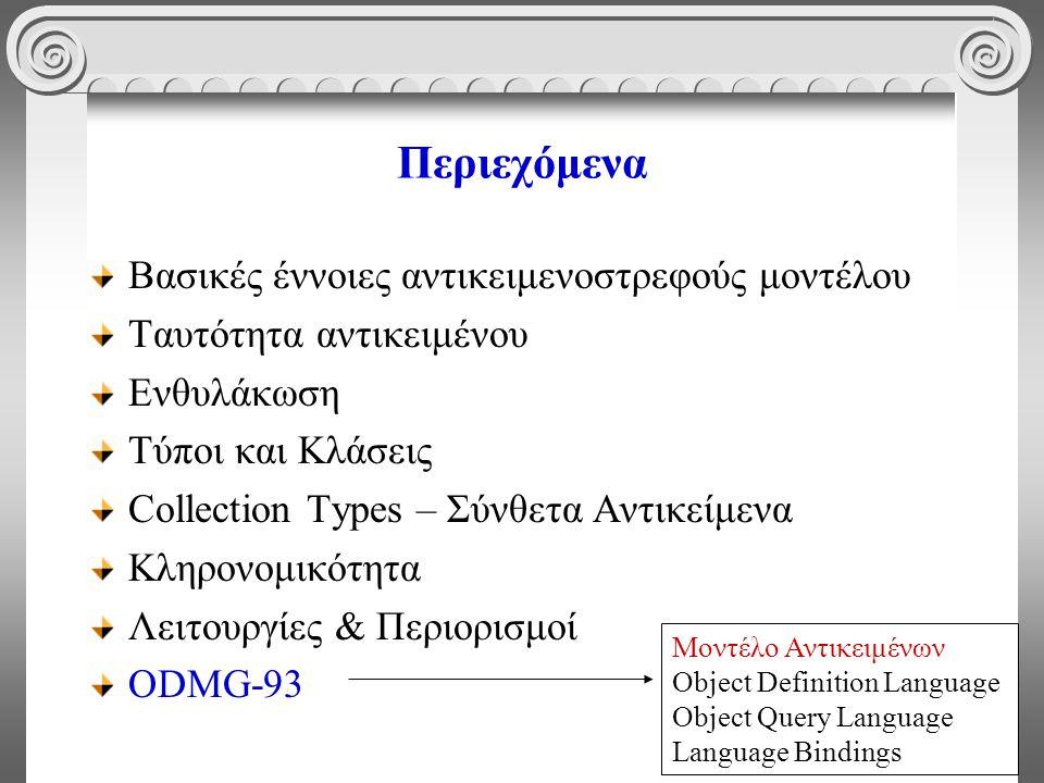 61 Περιεχόμενα Βασικές έννοιες αντικειμενοστρεφούς μοντέλου Ταυτότητα αντικειμένου Ενθυλάκωση Τύποι και Κλάσεις Collection Types – Σύνθετα Αντικείμενα Κληρονομικότητα Λειτουργίες & Περιορισμοί ODMG-93 Μοντέλο Αντικειμένων Object Definition Language Object Query Language Language Bindings