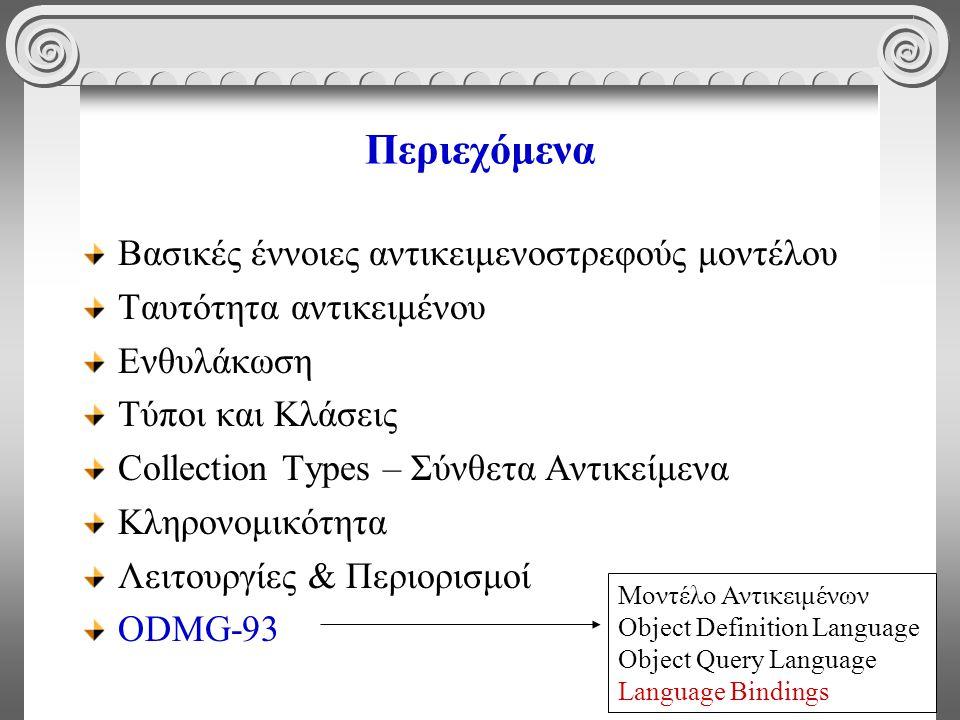 74 Περιεχόμενα Βασικές έννοιες αντικειμενοστρεφούς μοντέλου Ταυτότητα αντικειμένου Ενθυλάκωση Τύποι και Κλάσεις Collection Types – Σύνθετα Αντικείμενα Κληρονομικότητα Λειτουργίες & Περιορισμοί ODMG-93 Μοντέλο Αντικειμένων Object Definition Language Object Query Language Language Bindings