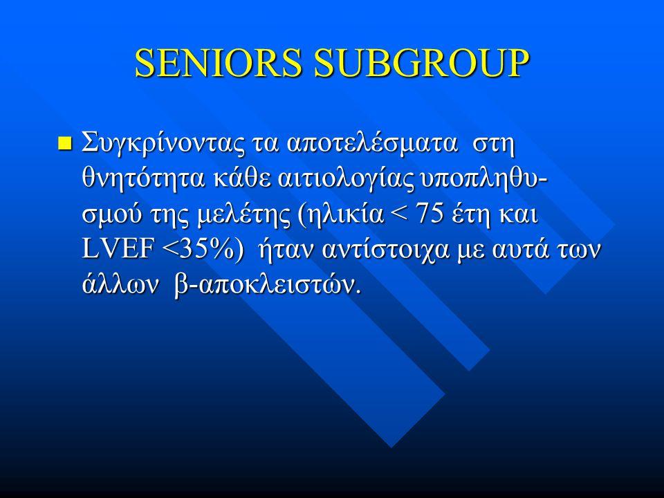 SENIORS SUBGROUP  Συγκρίνοντας τα αποτελέσματα στη θνητότητα κάθε αιτιολογίας υποπληθυ- σμού της μελέτης (ηλικία < 75 έτη και LVEF <35%) ήταν αντίστοιχα με αυτά των άλλων β-αποκλειστών.