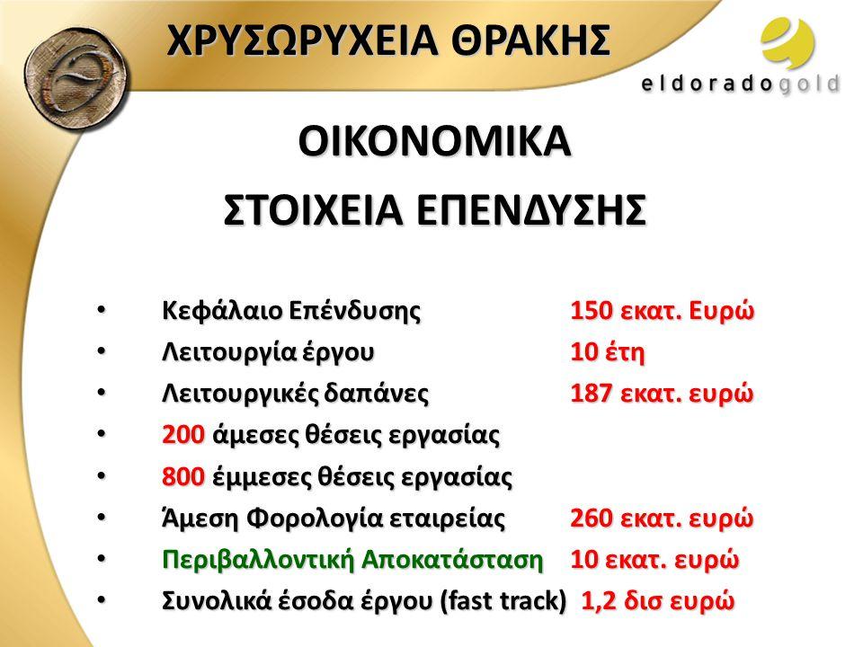 ΟΙΚΟΝΟΜΙΚΑ ΣΤΟΙΧΕΙΑ ΕΠΕΝΔΥΣΗΣ • Κεφάλαιο Επένδυσης150 εκατ. Ευρώ • Λειτουργία έργου10 έτη • Λειτουργικές δαπάνες187 εκατ. ευρώ • 200 άμεσες θέσεις εργ