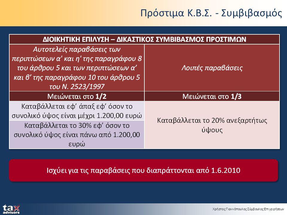 Χρήστος Γιαννόπουλος Σύμβουλος Επιχειρήσεων Πρόστιμα Κ.Β.Σ. - Συμβιβασμός Ισχύει για τις παραβάσεις που διαπράττονται από 1.6.2010